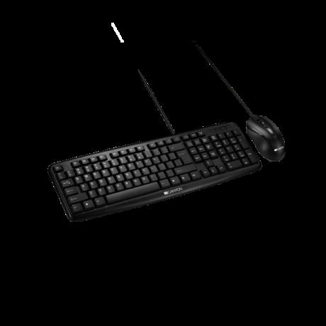 CANYON Vezetékes Billentyűzet + egér USB, Fekete