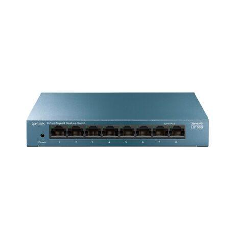 TP-LINK Switch 8x1000Mbps, Fémházas Asztali, LS108G